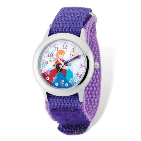 Disney Frozen Anna Purple Nylon Time Teacher Watch