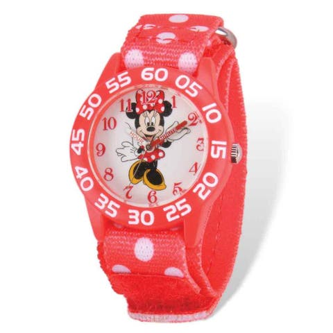 Disney Minnie Mouse Acrylic Case Red Hook and Loop Time Teacher Watch