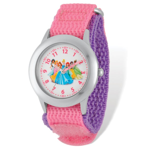 Disney Princess Pink Hook and Loop Band Time Teacher Watch