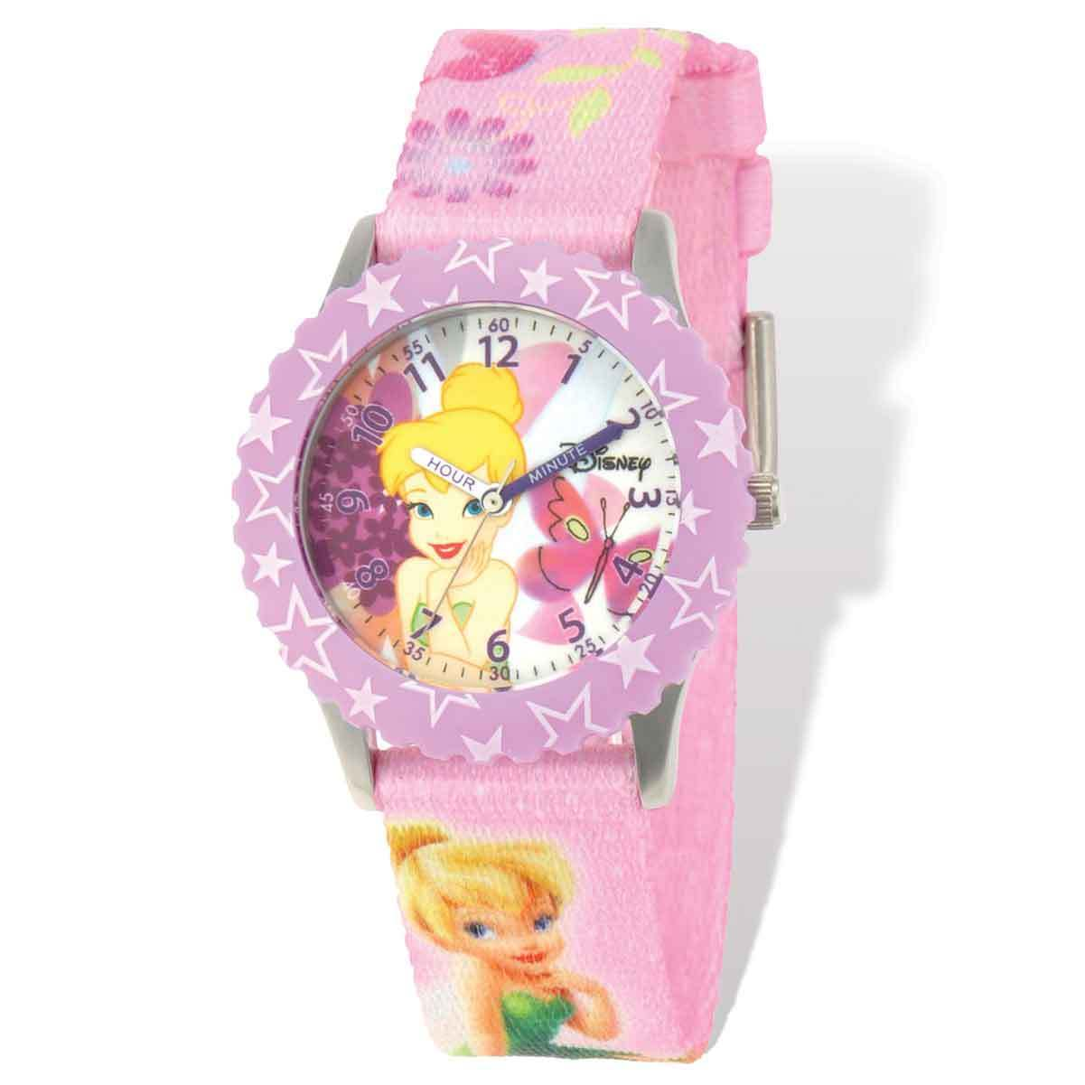 Disney Tinker Bell Printed Pink Fabric Time Teacher Watch...