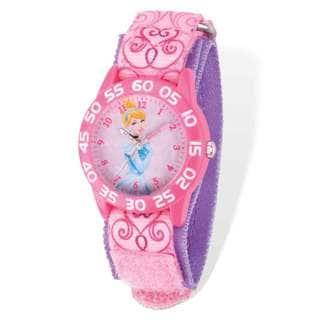 Disney Cinderella Acrylic Case Pink Hook and Loop Time Teacher Watch