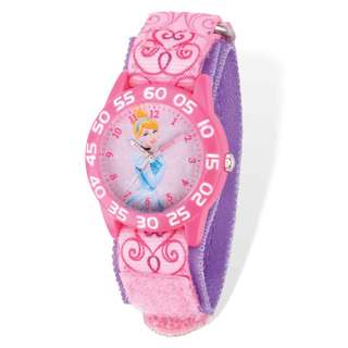 Disney Cinderella Acrylic Case Pink Hook and Loop Time Teacher Watch
