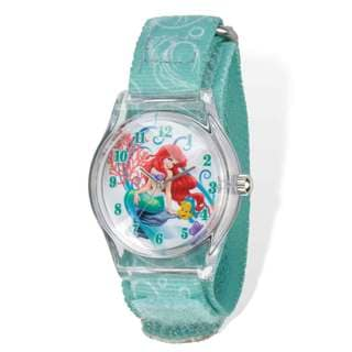 Disney Ariel Acrylic Case Aqua Hook and Loop Tween Watch