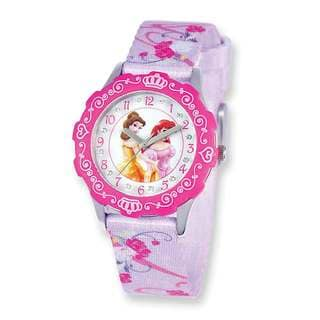 Disney Princess Belle/Ariel Glitz Printed Band Tween Watch