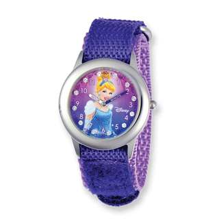 Disney Princess Cinderella Glitz Purple Hook and Loop Time Teacher Watch