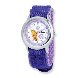 Disney Kids Tinker Bell Purple Hook and Loop Band Time Teacher Watch