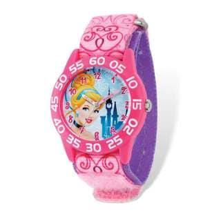 Disney Princess Cinderella Acrylic Pink Nylon Time Teacher Watch