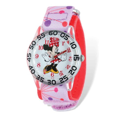 Disney Kids Minnie Mouse Pink Dot Acrylic Time Teacher Watch