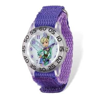 Disney Tinker Bell Acrylic Purple Nylon Time Teacher Watch