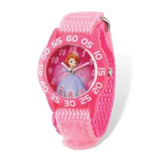 Disney Princess Sophia Acrylic Pink Nylon Time Teacher Watch
