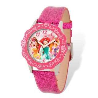 Disney Princess Belle/Ariel/Rapunzel Pink Leather Tween Watch