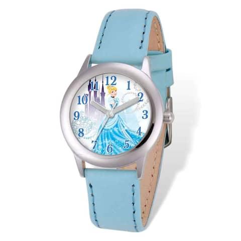 Disney Princess Cinderella Light Blue Leather Tween Watch