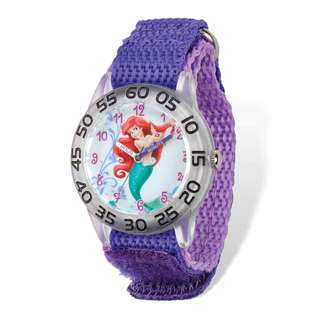 Disney Princess Ariel Acrylic Purple Nylon Time Teacher Watch