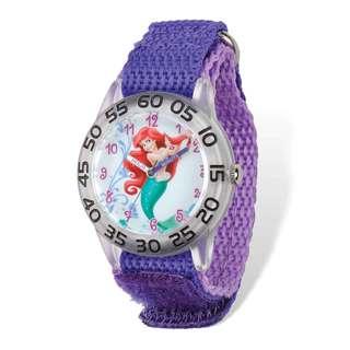 Disney Princess Ariel Acrylic Purple Nylon Time Teacher Watch
