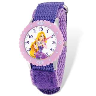 Disney Rapunzel Purple Hook and Loop Band Time Teacher Watch