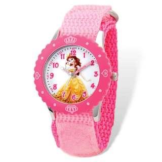 Disney Belle Pink Hook and Loop Band Time Teacher Watch