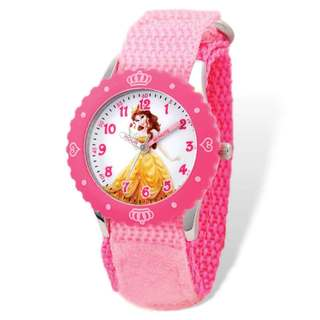 Disney Belle Pink Hook and Loop Band Time Teacher Watch