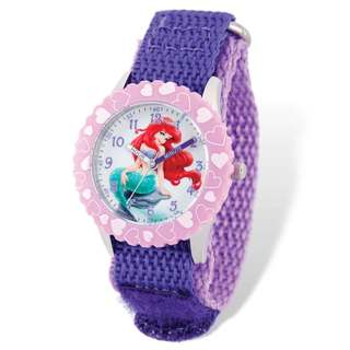 Disney Ariel Purple Hook and Loop Band Time Teacher Watch