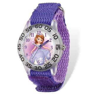 Disney Princess Sofia Acrylic Case Purple Hook and Loop Time Teacher Watch