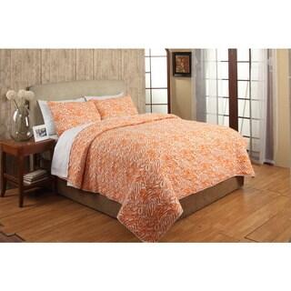 Penelope Orange Cotton 3-piece King Size Quilt Set (As Is Item)