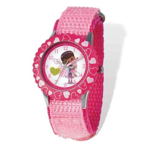Disney Doc McStuffins Pink Hook and Loop Time Teacher Watch