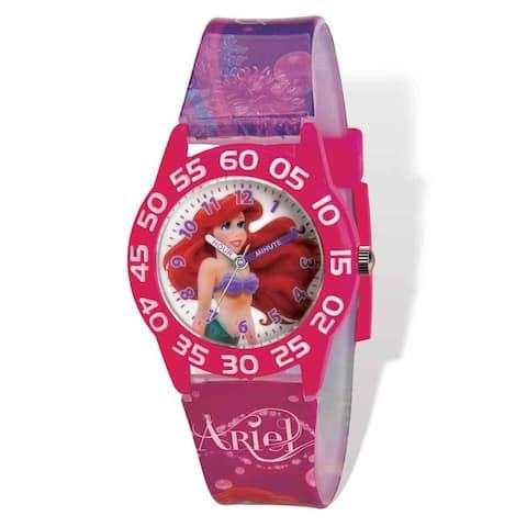 Disney Ariel Acrylic Case Pink Printed Band Time Teacher Watch