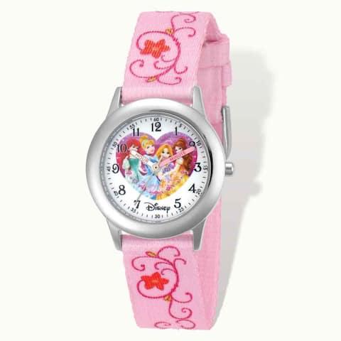 Disney Princess Printed Pink Fabric Time Teacher Watch