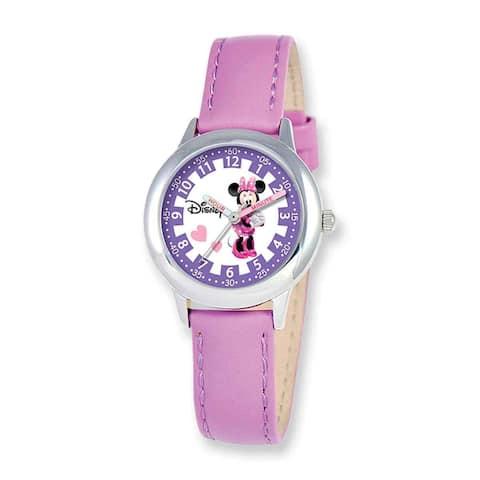 Disney Kids Minnie Mouse Purple Leather Band Time Teacher Watch