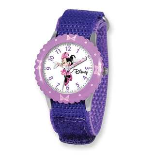 Disney Kids Minnie Mouse Purple Hook and Loop Band Time Teacher Watch