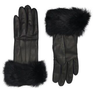 Coach Black Leather Fur-trimmed Gloves