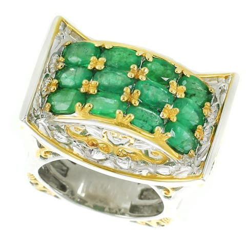 One-of-a-kind Michael Valitutti Palladium Silver Oval Emerald Three Row Band Ring