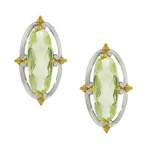 One-of-a-kind Michael Valitutti Palladium Silver Oval Oro Verde Elongated Stud Earrings