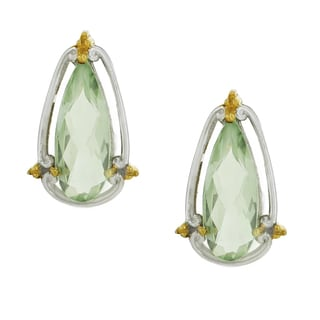 One-of-a-kind Michael Valitutti Palladium Silver Pear Green Amethyst Elongated Stud Earrings