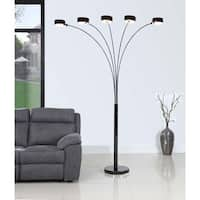 Artiva USA 'MICAH Plus' Jet Black 88-inch Modern LED 5-Arched Dimmer Floor Lamp