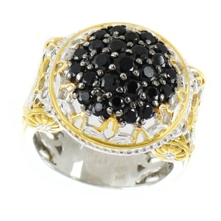 One-of-a-kind Michael Valitutti Palladium Silver Vase From the Lourve Black Spinel Cluster Ring