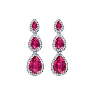 CZ Crimson Red Gems Teardrop Journey Earrings Push Back