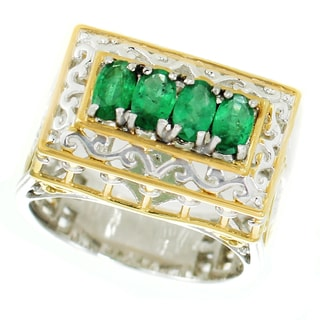 One-of-a-kind Michael Valitutti Palladium Silver Oval Emerald Petite Paris Landmark Band Ring