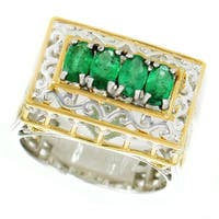 One-of-a-kind Michael Valitutti Palladium Silver Oval Emerald Petite Paris Landmark Band Ring