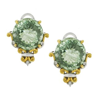 One-of-a-kind Michael Valitutti Palladium Silver Green Amethyst and White Sapphire Stud Earrings
