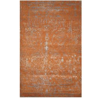 Herat Oriental Indo Hand-knotted Erased Wool & Silk Rug (3'10 x 6')
