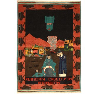 Herat Oriental Afghan Hand-knotted Wool & Silk War Rug (3'9 x 5'4)