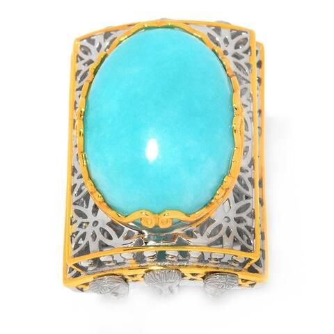 Michael Valitutti Palladium Silver Venice Bridge Oval Amazonite Ring