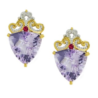 One-of-a-kind Michael Valitutti Palladium Silver Trillion Pink Amethyst and Hot Pink Sapphire Stud Earrings
