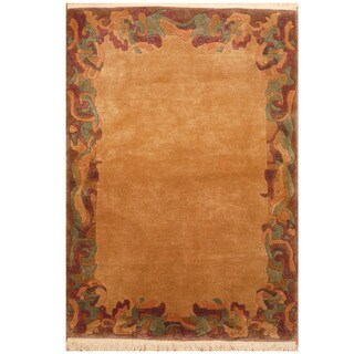 Herat Oriental Indo Hand-knotted Tibetan Wool Rug (4'1 x 5'10)