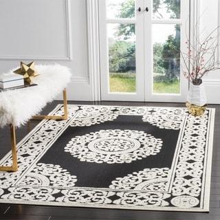 Safavieh Indoor/ Outdoor Cottage Black/ Cream Rug (3' 3 x 5' 3)