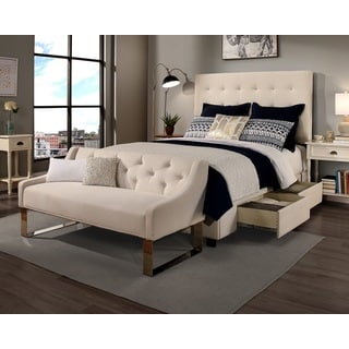 Republic Design House Manhattan King/Cal King-Size Ivory Tufted Storage Bed and Tufted Sofa Bench