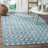 Safavieh Hand-Woven Montauk Flatweave Turquoise/ Multicolored Cotton Rug (4' x 6')