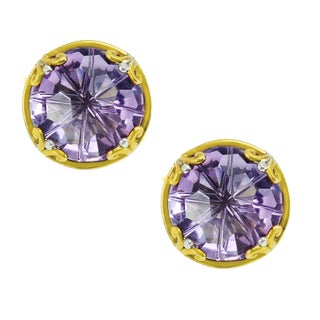 One-of-a-kind Michael Valitutti Palladium Silver Round Decorative Brazilian Amethyst Stud Earrings