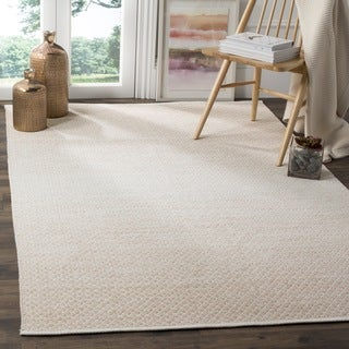 Safavieh Hand-Woven Montauk Flatweave Beige/ Ivory Cotton Rug (3' x 5')