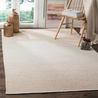 Safavieh Montauk Handmade Flatweave Beige/ Ivory Cotton Rug (4' x 6')